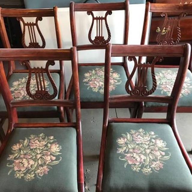 Vintage Lyre Harp Back Mahogany Wood Side Chairs Duncan Phyfe Needlepoint  Seats - Find More Vintage Lyre Harp Back Mahogany Wood Side Chairs Duncan