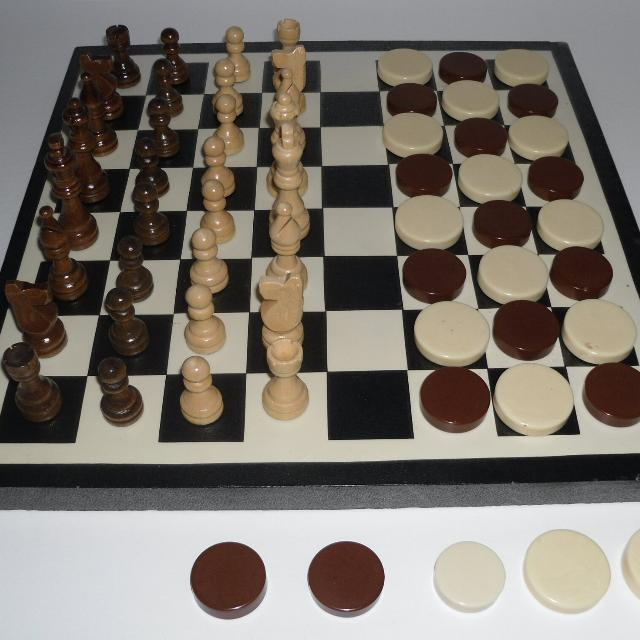 Find More Wooden Chess Set Checkers Heavy Plastic Pieces Magnificent Homemade Wooden Board Games