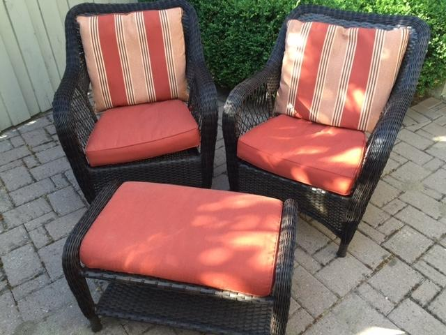 Find more weather resiatnt wicker chair set for sale at up for Chaise 0 gravite canadian tire