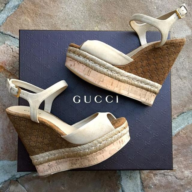 b4b7f75382e Find more Authentic Gucci Hollie Cork Wedge Sandals for sale at up ...