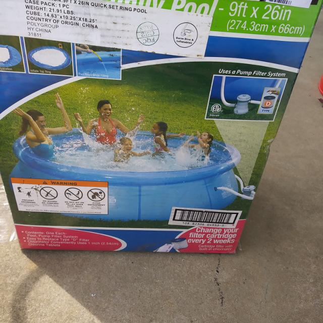 9ft by 26 inch quick set pool with pump