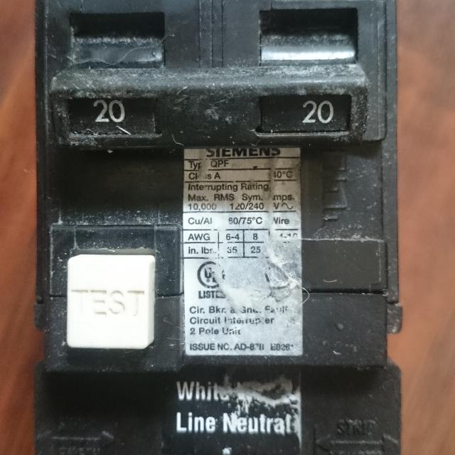 Siemens 20 Amp Double pole GFCI breaker