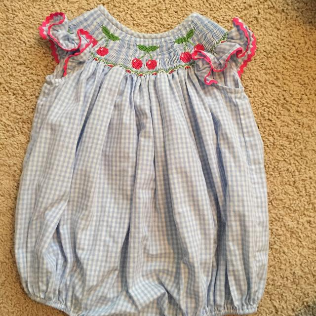 907c34ab8dc Find more Candyland Cherry Smocked Bubble Romper for sale at up to ...