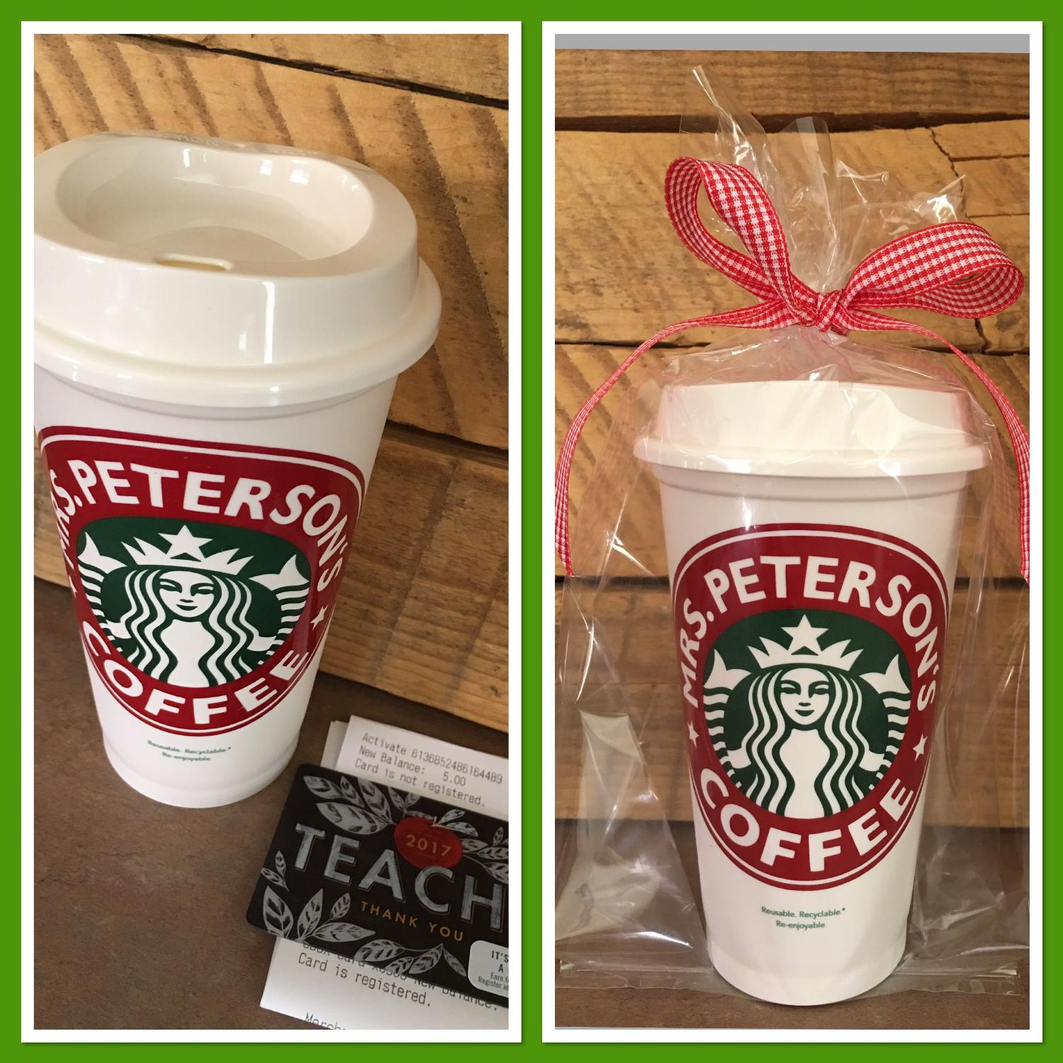 Personalized Starbucks Cup With 5 Gift Card