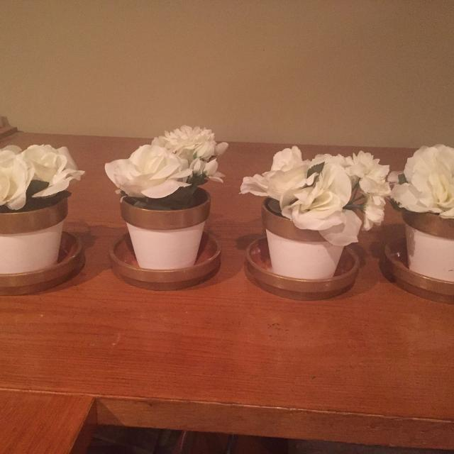 Best 4 vases white and gold with fake white flowers for sale in 4 vases white and gold with fake white flowers mightylinksfo
