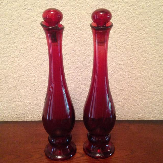 Find More Set Of 2 Avon Ruby Red Bud Vases With Stoppers For Sale